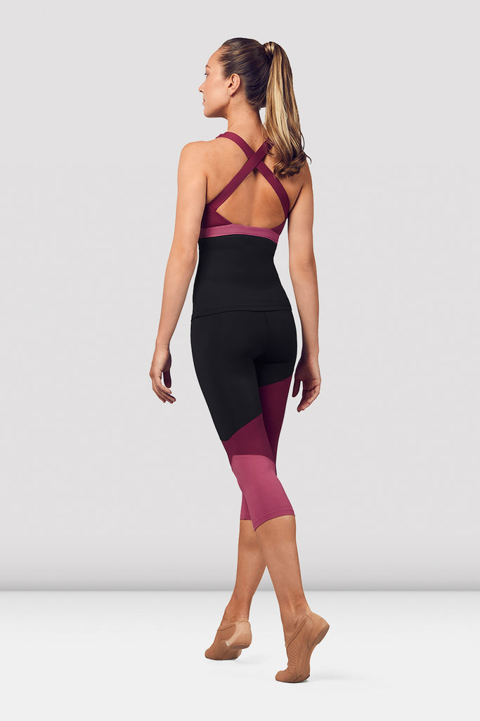 Ladies Colour Panelled Capri Leggings