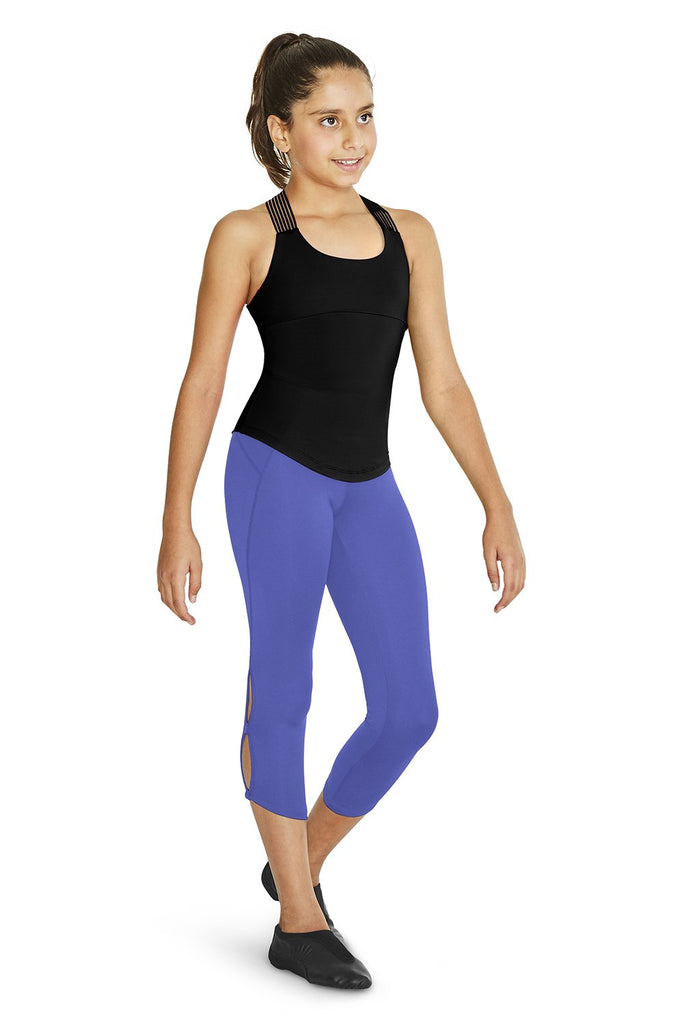 Iris Bloch Girls Flora 7/8 Legging  on female model left leg beveled facing downststage left corner