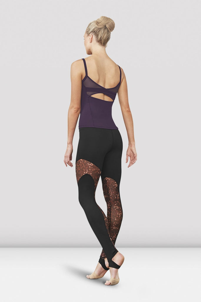 Maple print Bloch Ladies Gigi Printed Mesh Mesh Panel Stirrup Legging on female model left level beveled facing upstage right