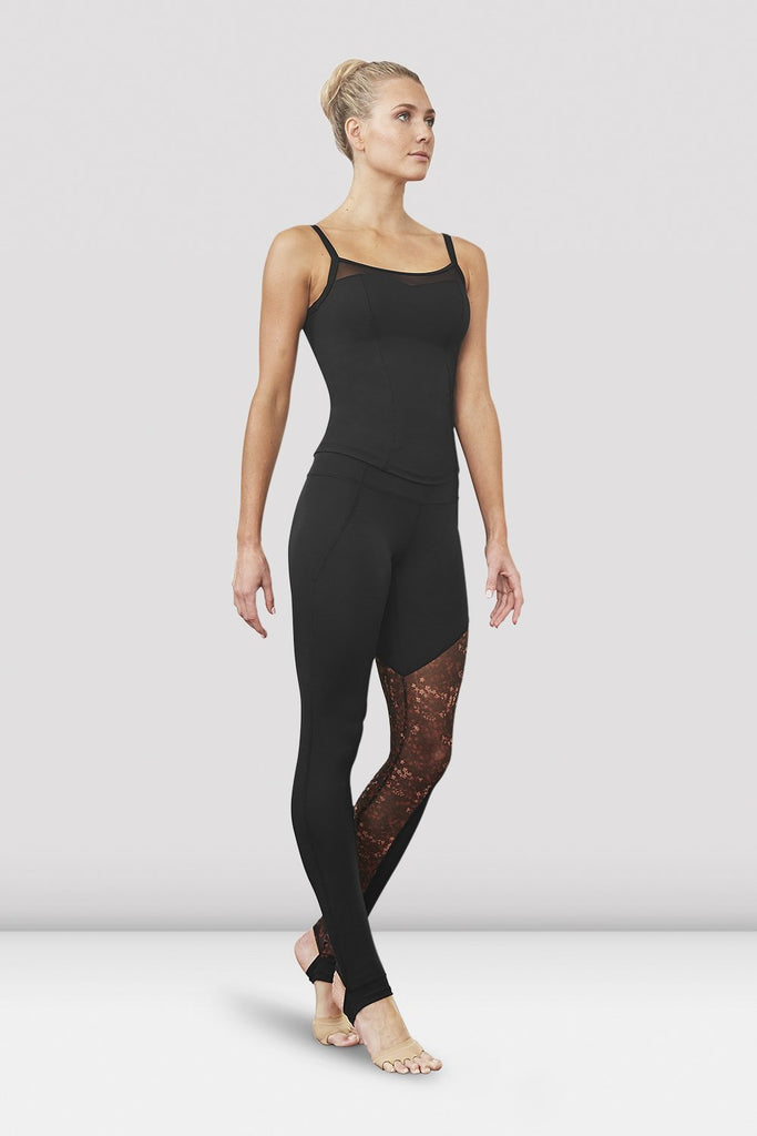Maple print Bloch Ladies Gigi Printed Mesh Mesh Panel Stirrup Legging on female model left level beveled facing downstage left