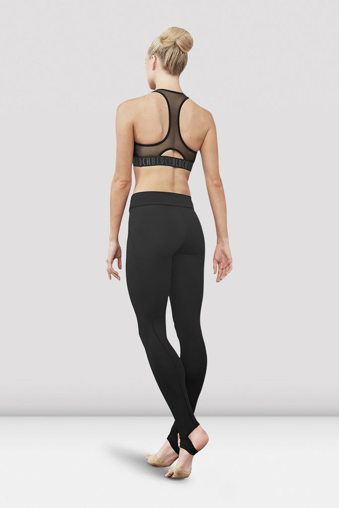 Black Bloch Ladies Zyra Waistband Stirrup Legging on female model left level beveled facing upstage right