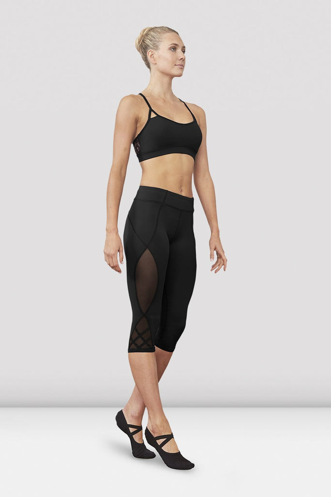 Black Bloch Ladies Kalise Capri Legging on female model left level beveled facing downstage left