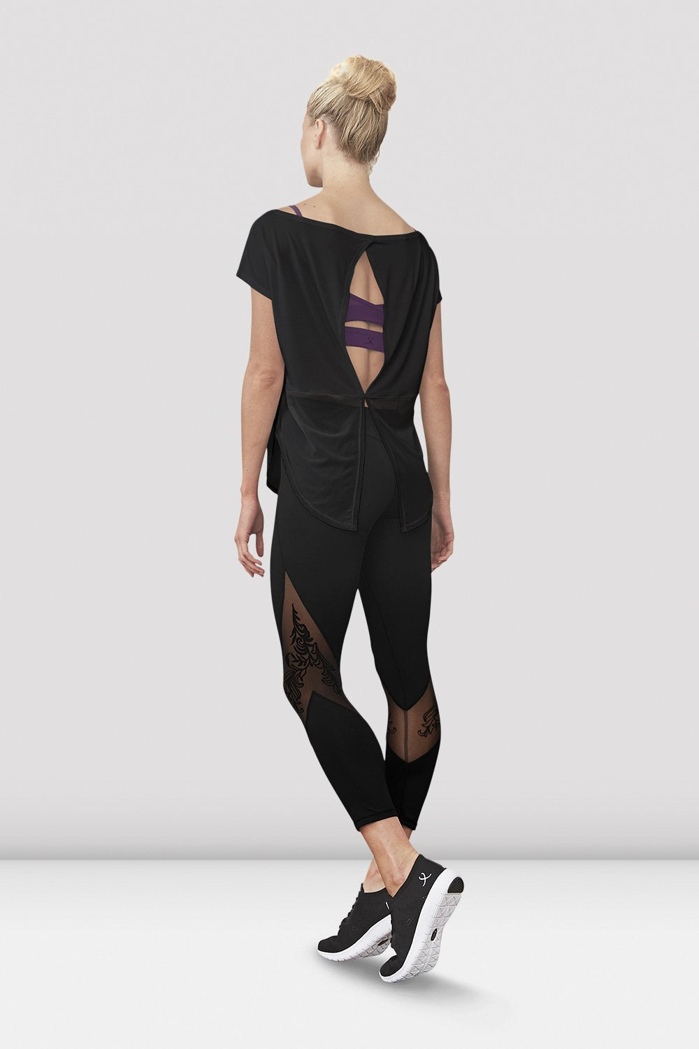 Black Bloch Ladies Saori Mesh Panel Legging on female model left level beveled facing upstage right