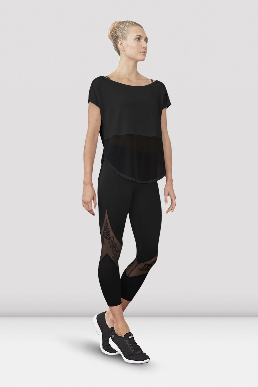 Black Bloch Ladies Saori Mesh Panel Legging on female model left level beveled facing downstage left