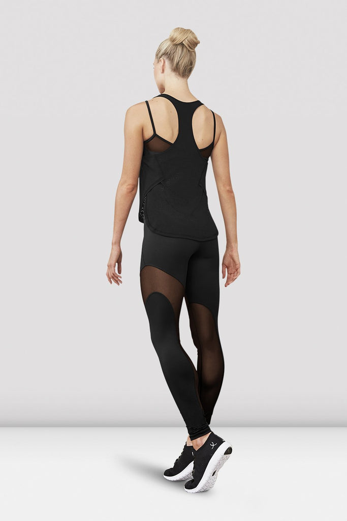 Black Bloch Ladies Gigi Mesh Panel Stirrup Legging on female model left level beveled facing upstage right