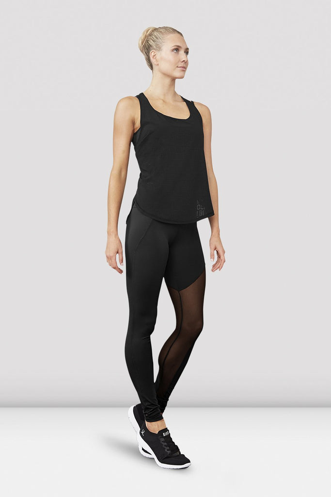Black Bloch Ladies Gigi Mesh Panel Stirrup Legging on female model left level beveled facing downstage left