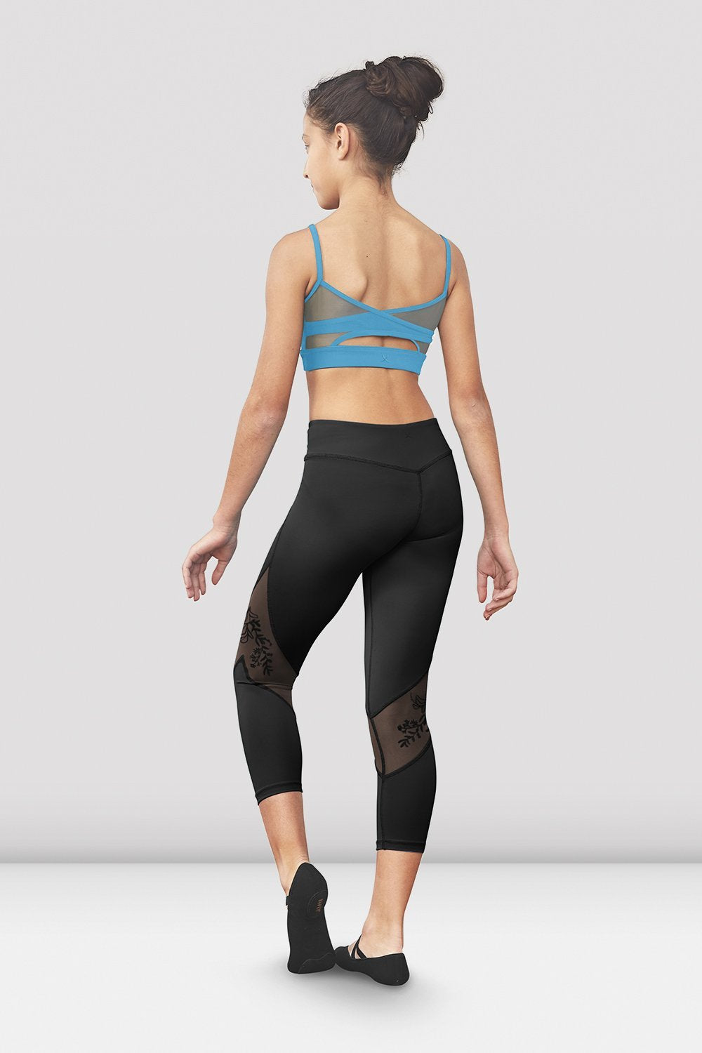Black Bloch Girls Jessy Mesh Panel Seven Eights Legging on female model left level beveled facing upstage right