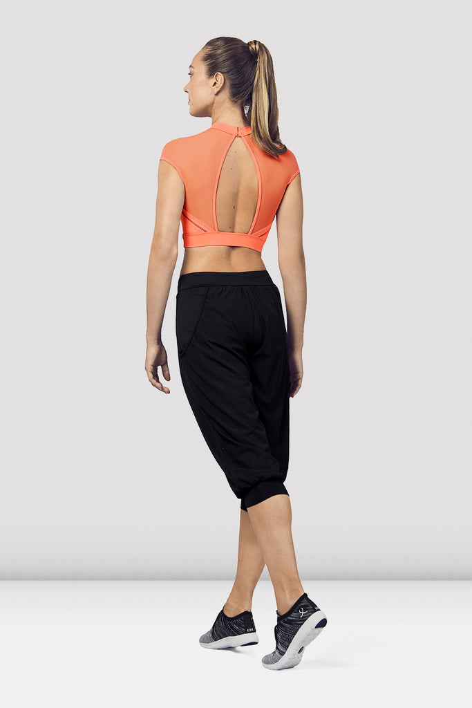 Ladies Open Back Cap Sleeve Crop Top