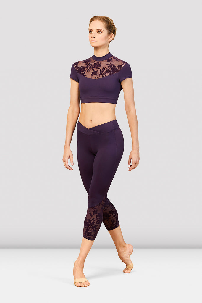 Ladies Bordeaux Mesh Panel Seven Eighth Legging