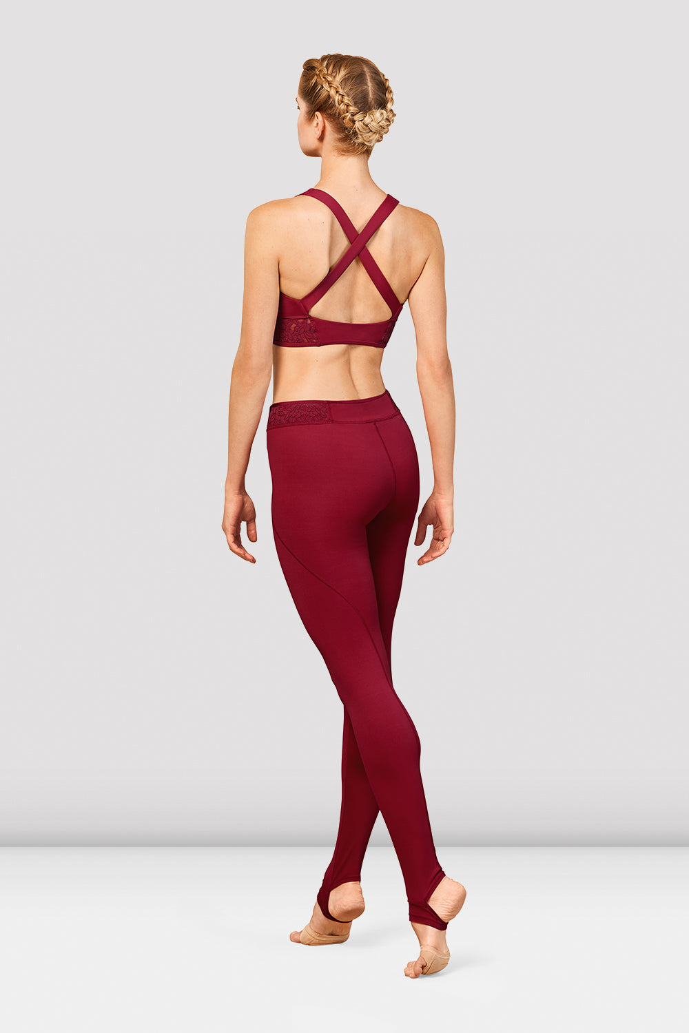 Ladies Bordeaux Cross Back Crop Top
