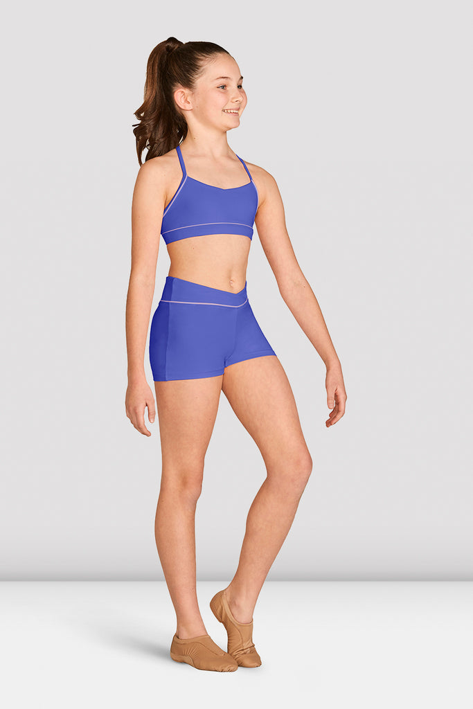 Girls Contrast Piping Racer Back Crop Top