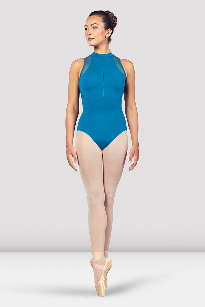 Ladies Loanne High Neckline Zip Open Back Halter Leotard