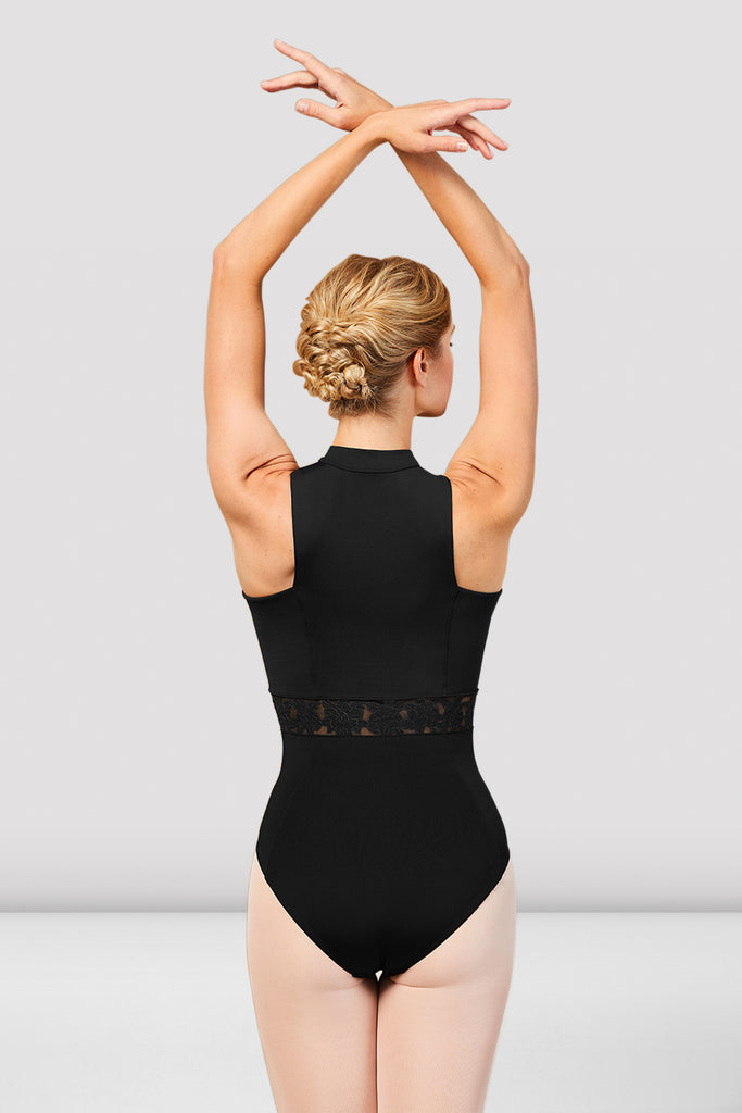 Ladies Ariah High Neck Zip Front Leotard