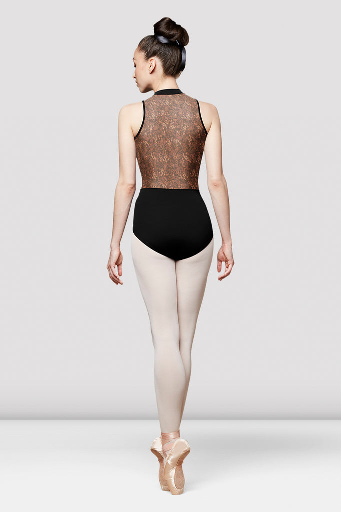 Ladies Taye Floral Mesh Open Back Leotard