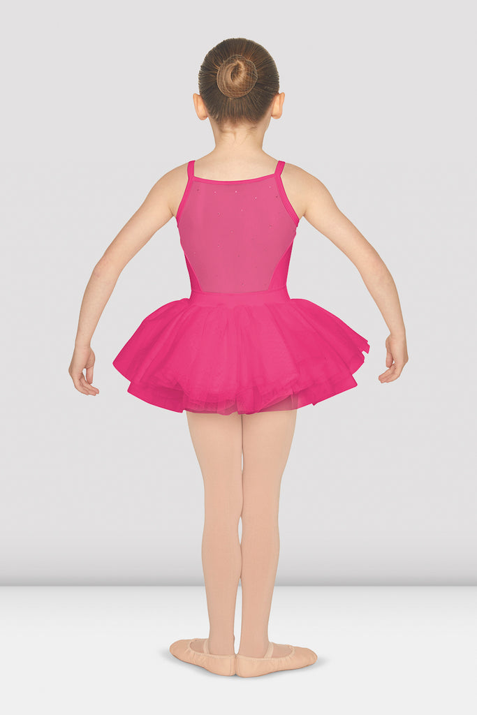 Girls Diamante Mesh Back Camisole Tutu Leotard