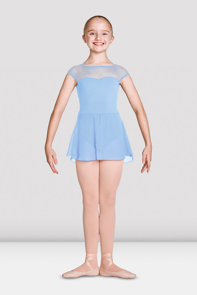 Girls Mirella Mesh Bodice Cap Sleeve Skirted Leotard