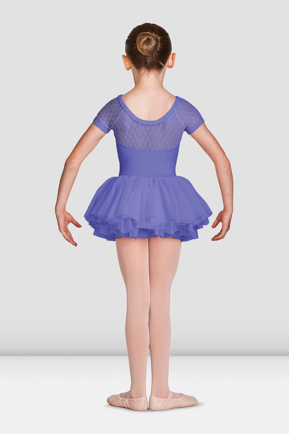 Girls Mirella Gathered Neckline Cap Sleeve Tutu Leotard