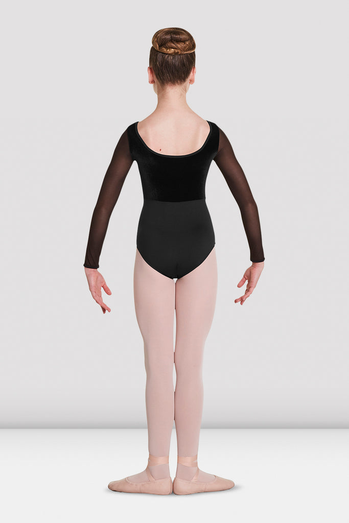 Girls Mirella Velvet Long Sleeve Leotard