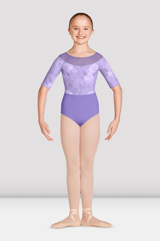 Girls Jasmine Three Quarter Sleeve Leotard