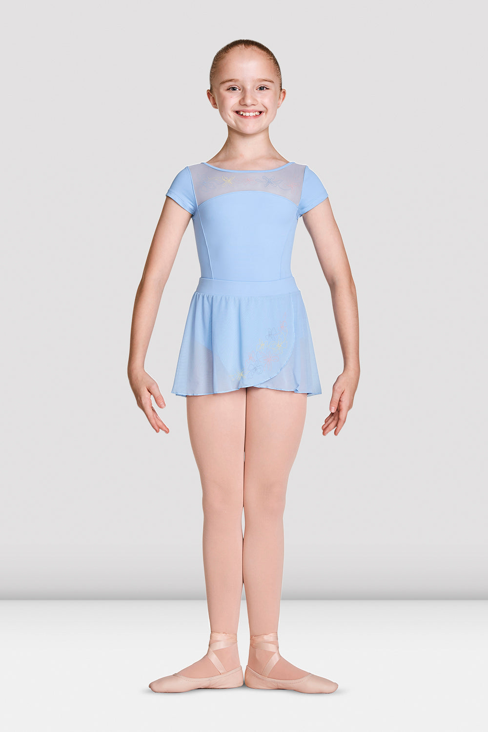 Girls Mirella High Neckline Open Back Cap Sleeve Leotard