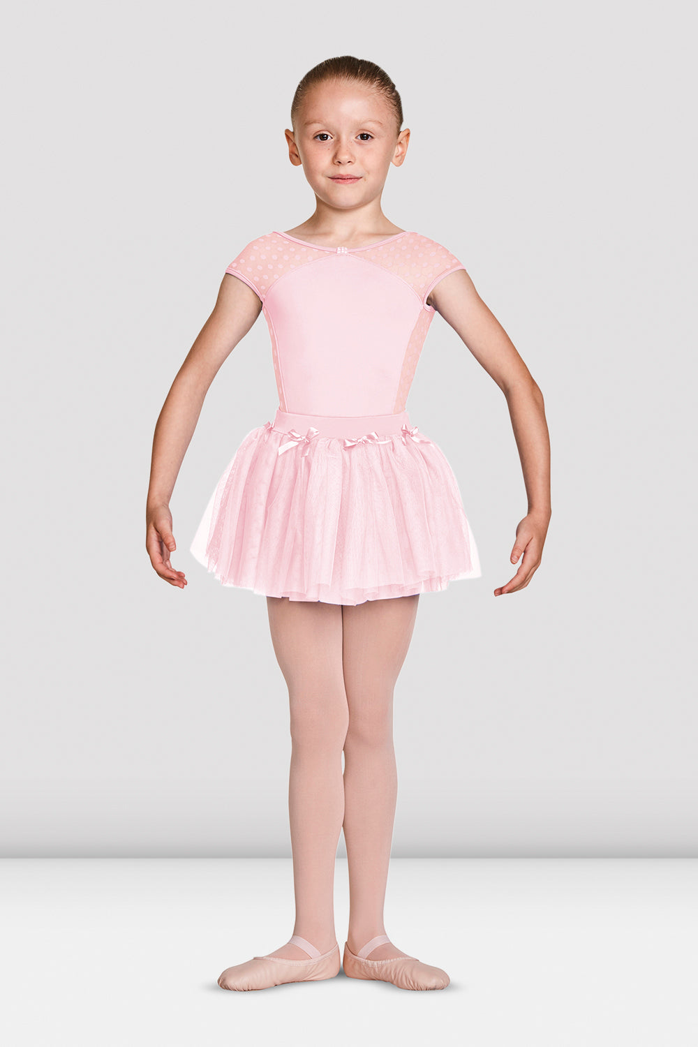 Girls Mirella Diamante Detail Bow Neckline Cap Sleeve Leotard