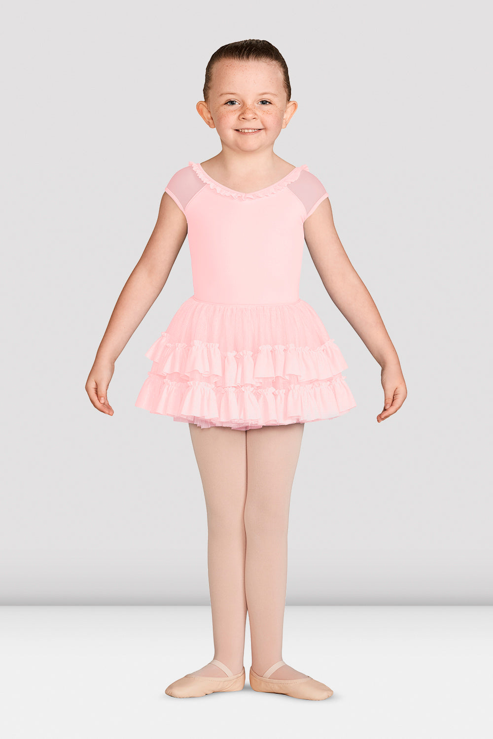 Girls Mirella Vienna Glitter Mesh Detail Leotard