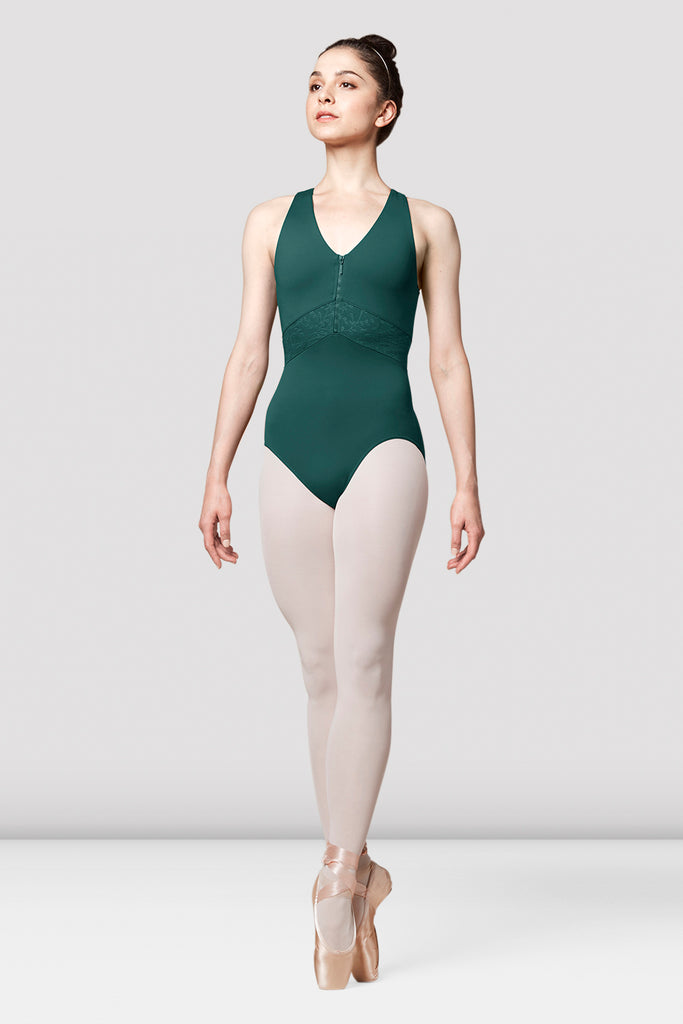 Ladies Mirella Zip Front Cross Back Leotard