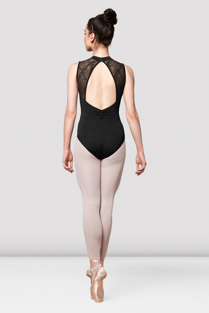 Ladies Mirella Messina Printed Mesh Panel Leotard