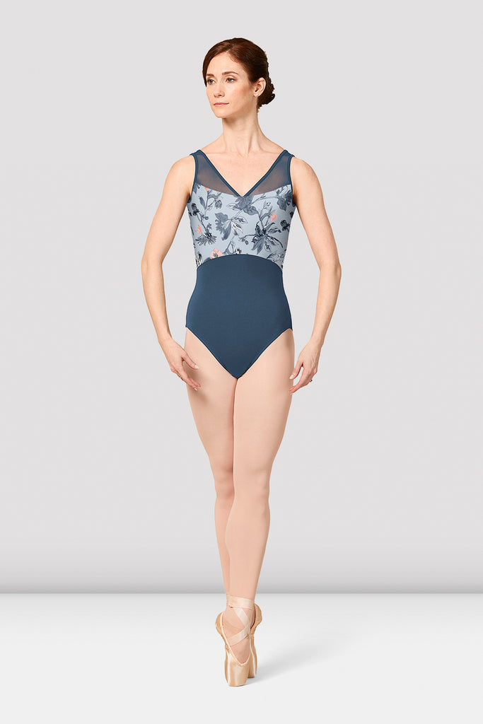 Ladies Mirella Jasmine Print V-Neck Leotard