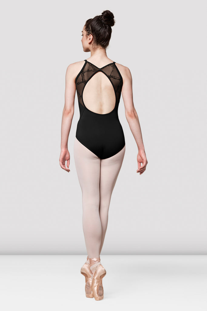 Ladies Mirella Messina Flock Mesh Open Back Leotard