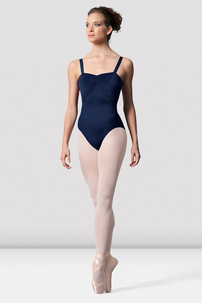 Ladies Mirella Ruched Neckline Velvet Leotard