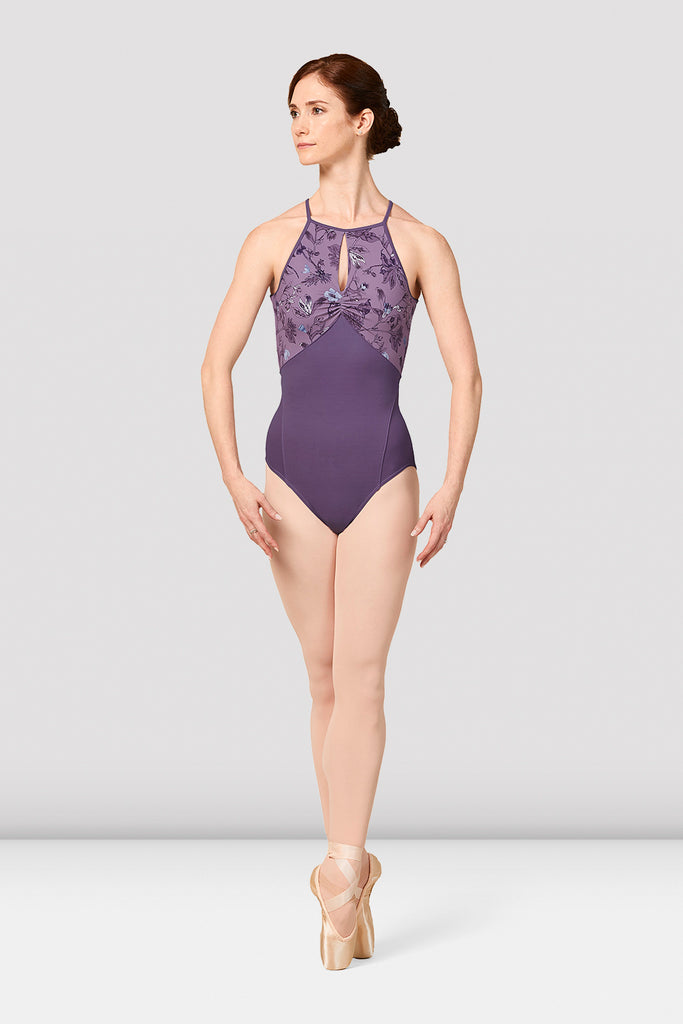 Ladies Mirella Jasmine Print Halter Neck Leotard