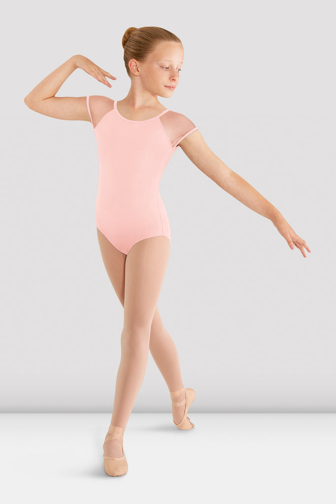 Girls Mirella Mesh Cap Sleeve Leotard