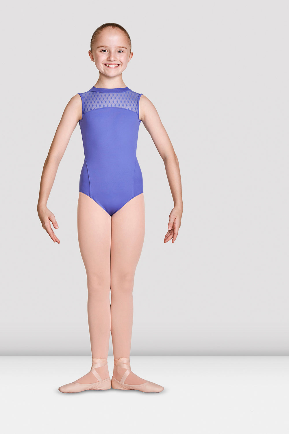 Girls Mirella High Neckline Open Back Tank Leotard