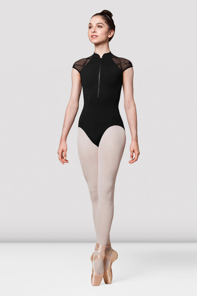 Ladies Mirella Messina Zip Front Flock Mesh Back Leotard