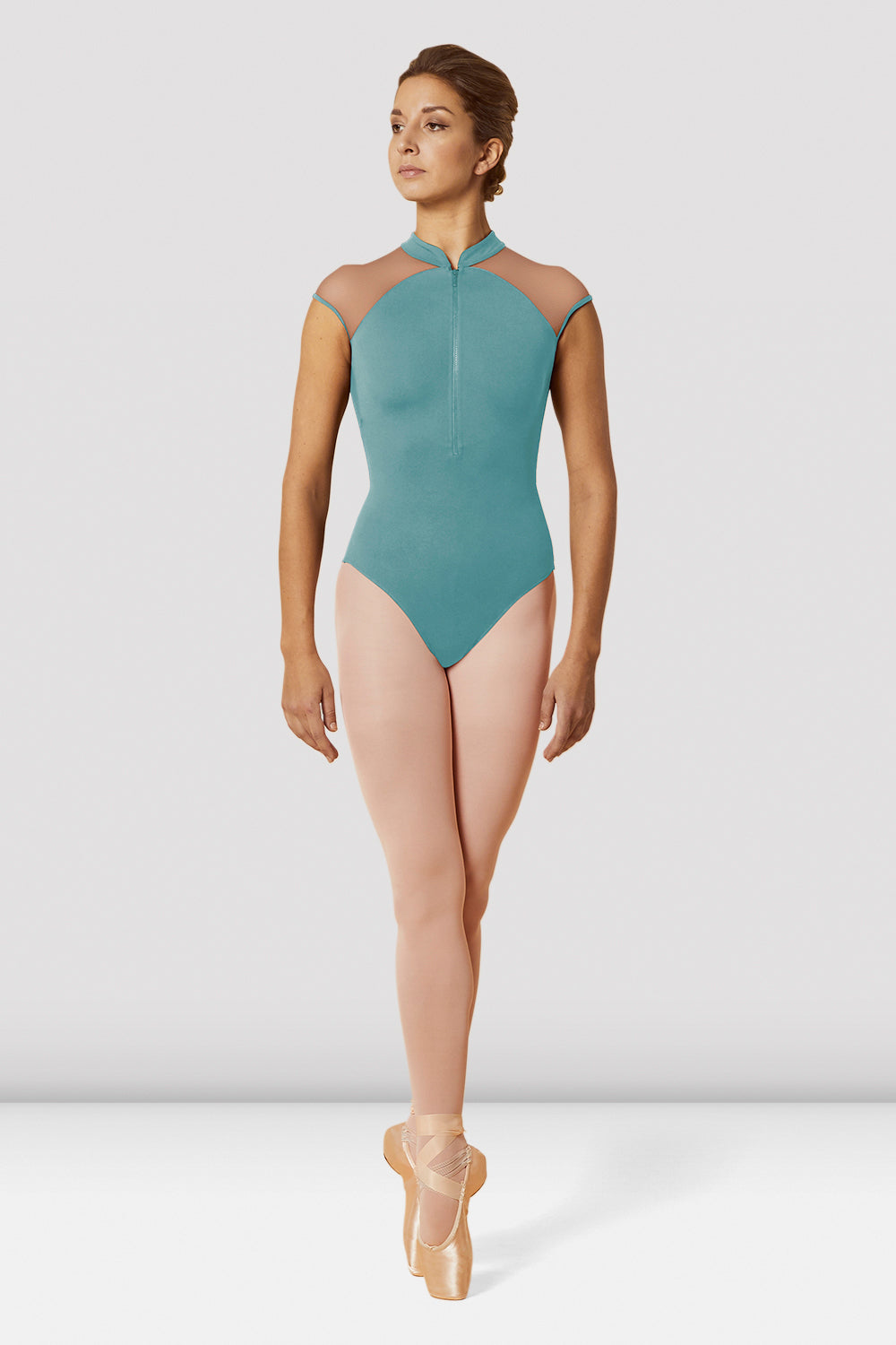 Ladies Mirella Zip Front High Neck Cap Sleeve Leotard