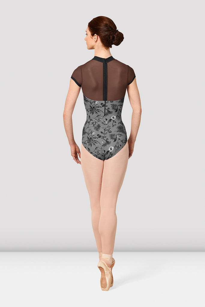 Ladies Mirella Jasmine Print Cap Sleeve Mesh Back Leotard