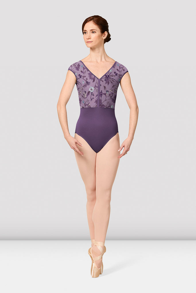 Ladies Mirella Jasmine Print Cap Sleeve V-Neck Leotard