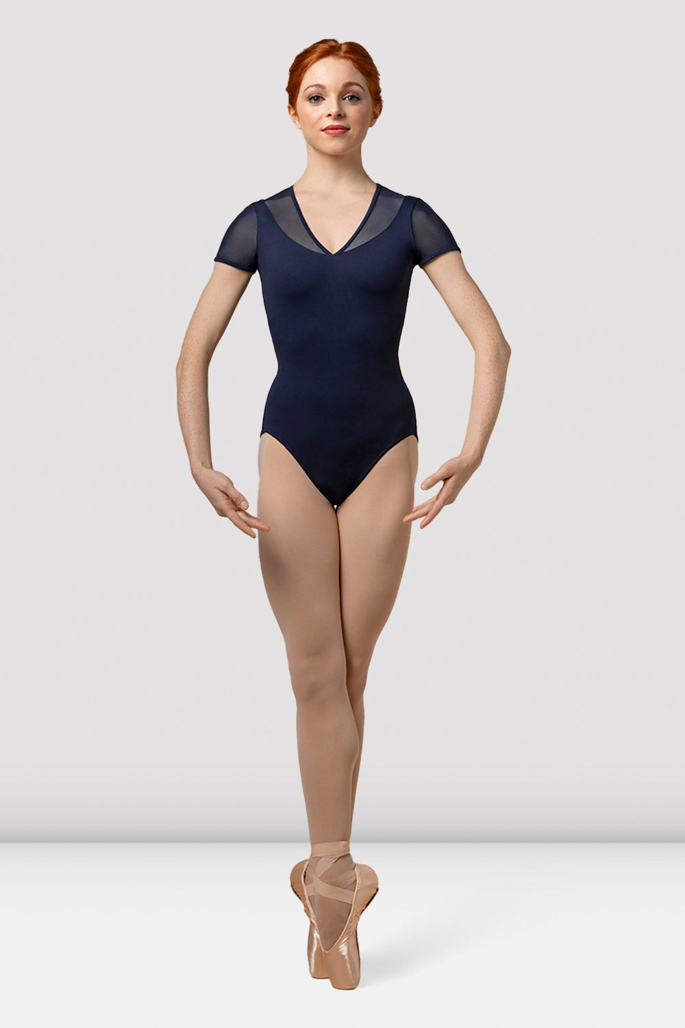 Ladies Mirella Splice V Neck Cap Sleeve Leotard