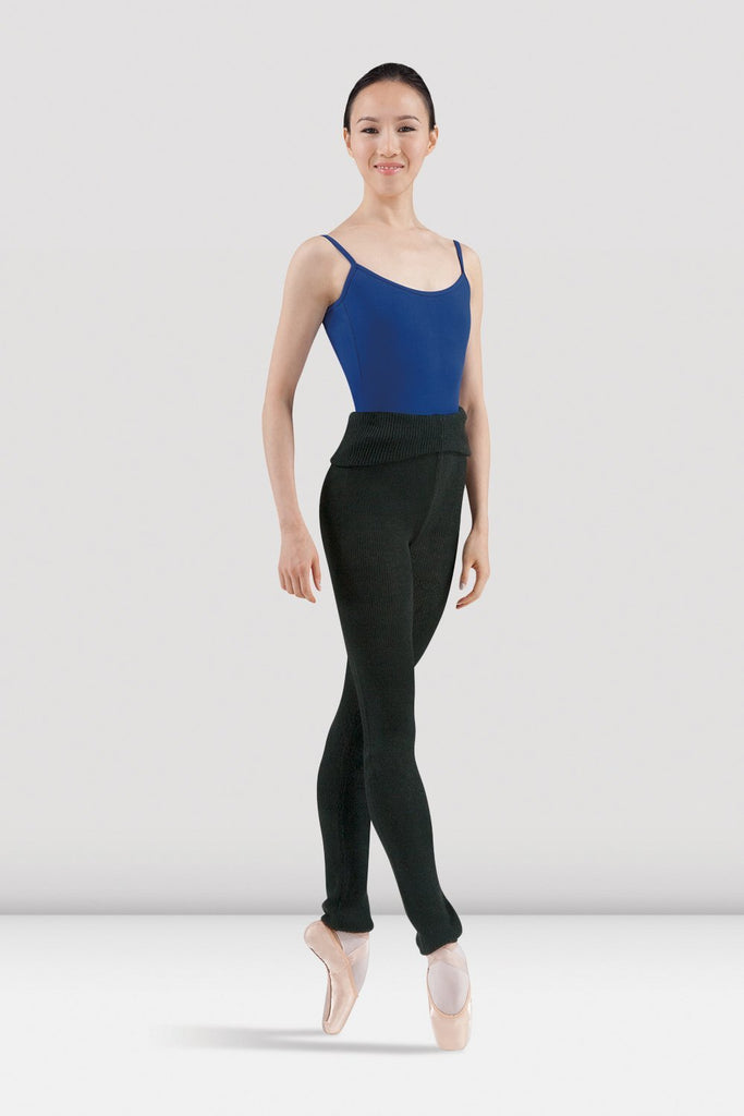 Black Bloch Ladies Marcie Warm Up Roll Over Pant  on female model in fourth position en pointe