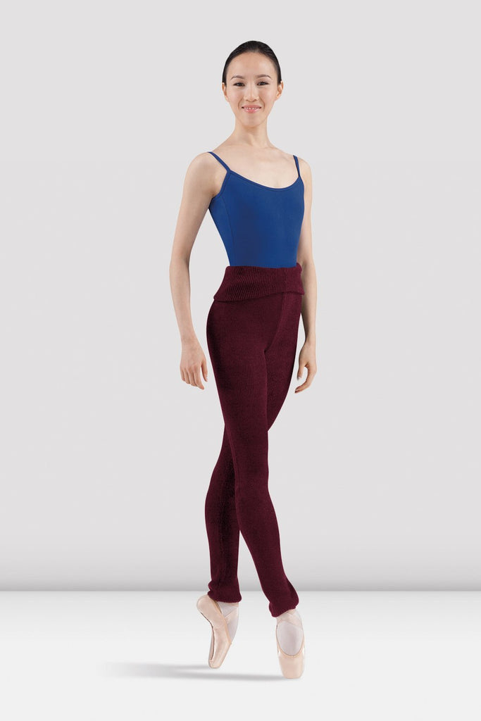 Burgundy Bloch Ladies Marcie Warm Up Roll Over Pant  on female model in fourth position en pointe