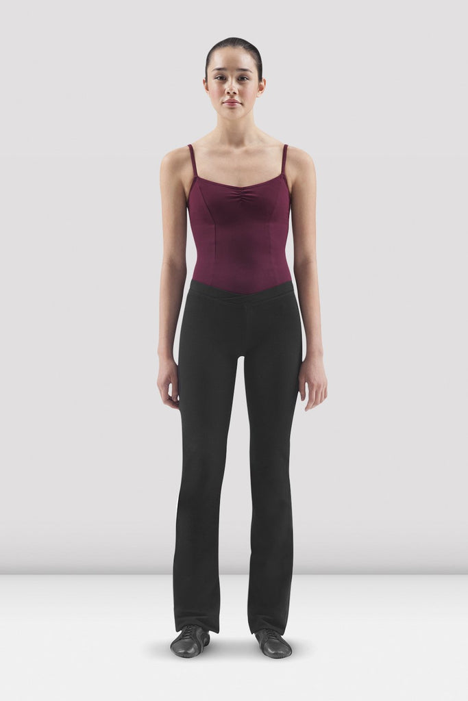 Black Bloch Ladies Ecarte V Front Jazz Pant on female model in parallel