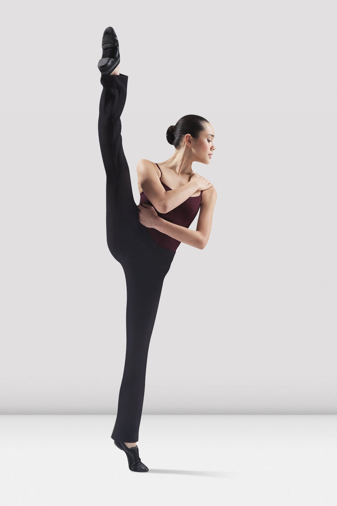 Black Bloch Ladies Ecarte V Front Jazz Pant on female model right leg develop