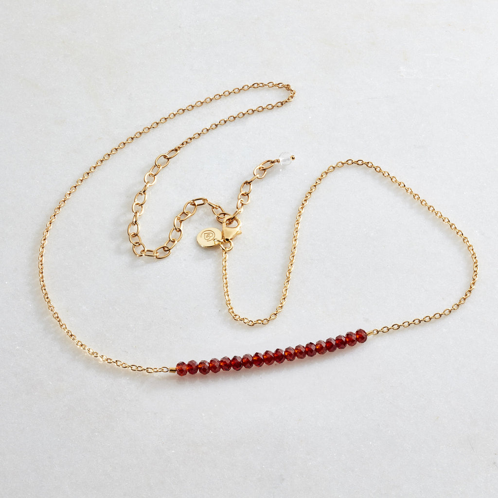 Crystal Beams Necklace - Garnet - i Love Chakra