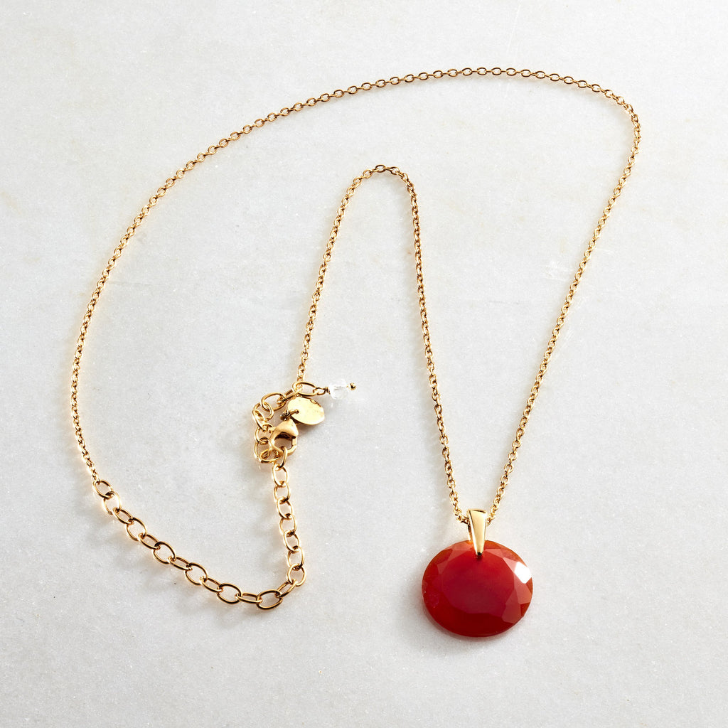 Crystal Coin Necklace - Carnelian - i Love Chakra