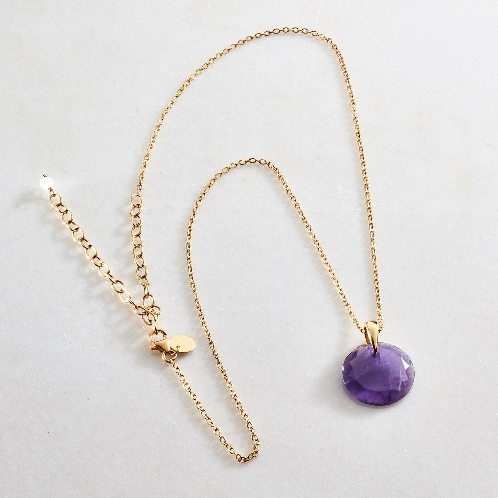 Crystal Coin Necklace - Amethyst - i Love Chakra