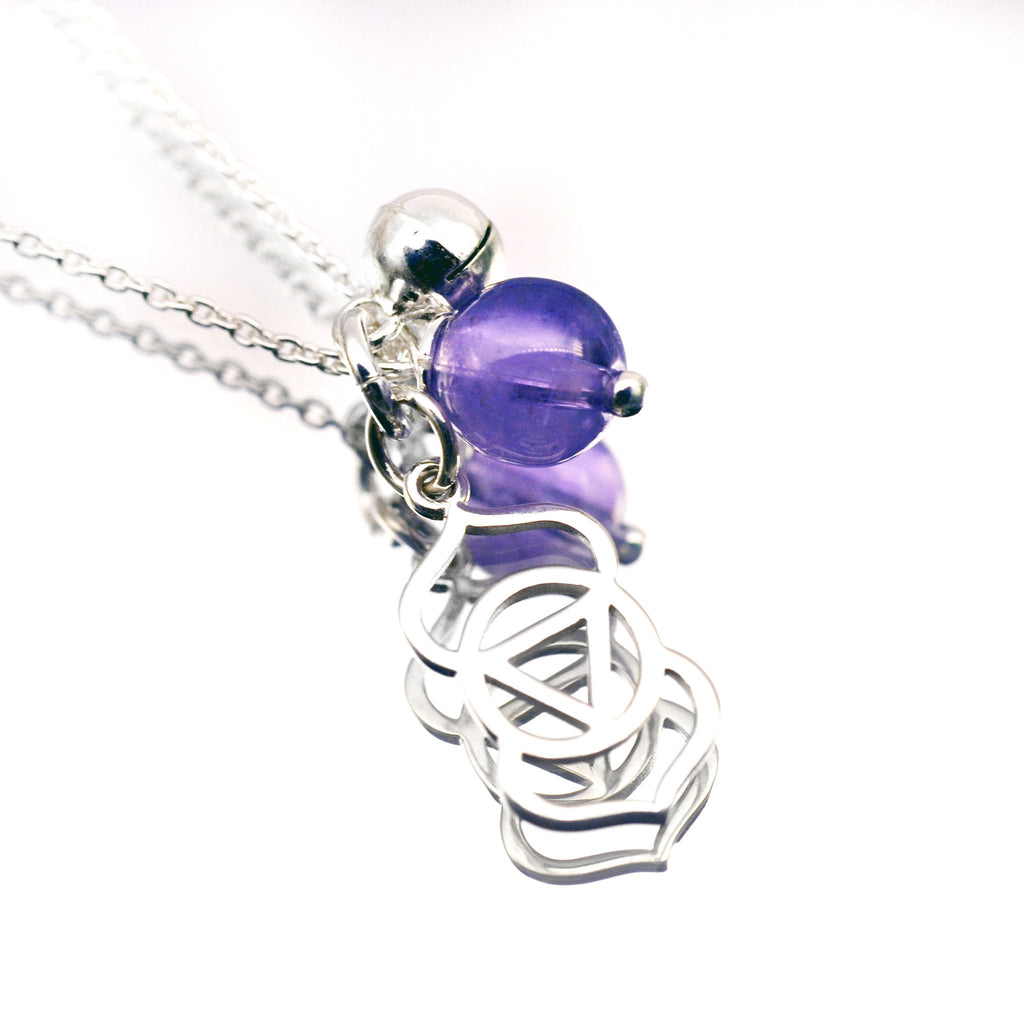 Third Eye Chakra Symbol Necklace with Amethyst - i Love Chakra