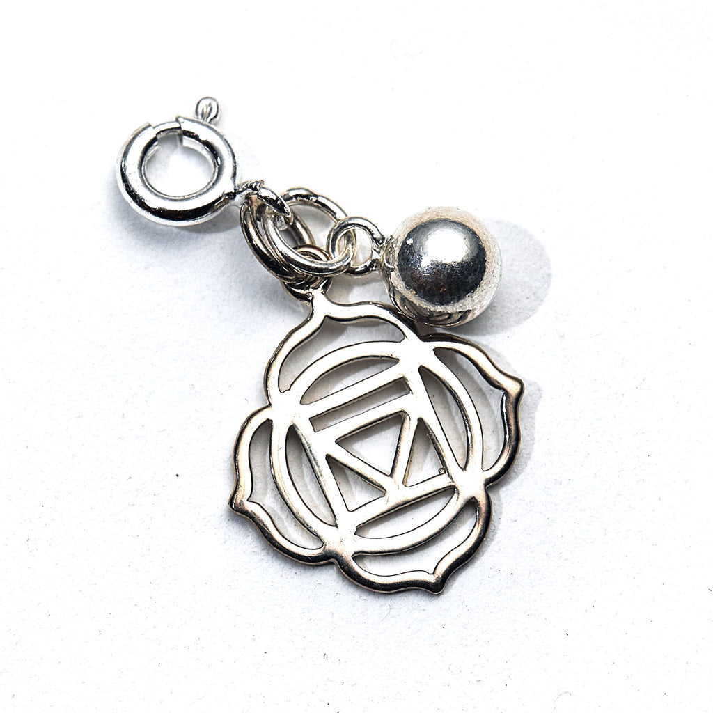 Silver Lotus Flower & Bell Charm - Root Chakra - i Love Chakra