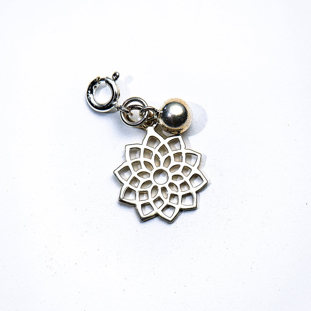 Silver Lotus Flower & Bell Charm - Crown Chakra - i Love Chakra