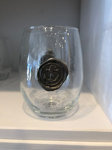 Anchor Stamp Stemless Wine Glass